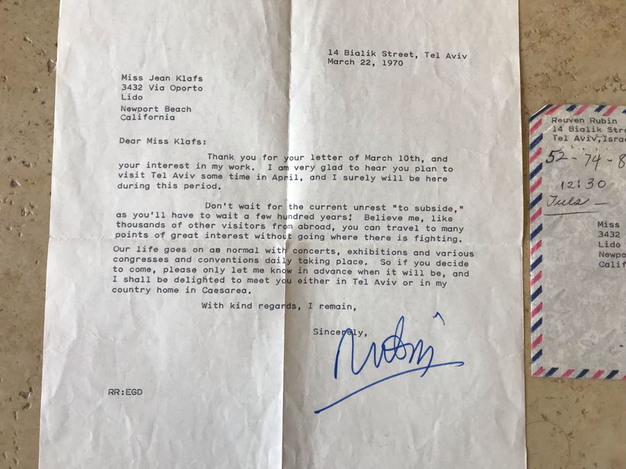 Hand Signed Reuven Rubin (1893-1974) Letter Welcoming Jean Klafs To Visit Him In Tel Aviv, Israel With Insightful Commentary On Endless War In Israel Dated 1970 [Photo 1]