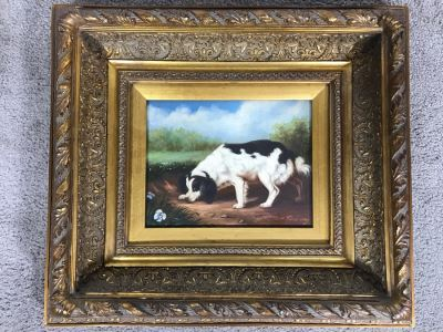 Original John Gray Painting On Canvas In Stunning High Relief Gilded Wooden Frame 10 X 8