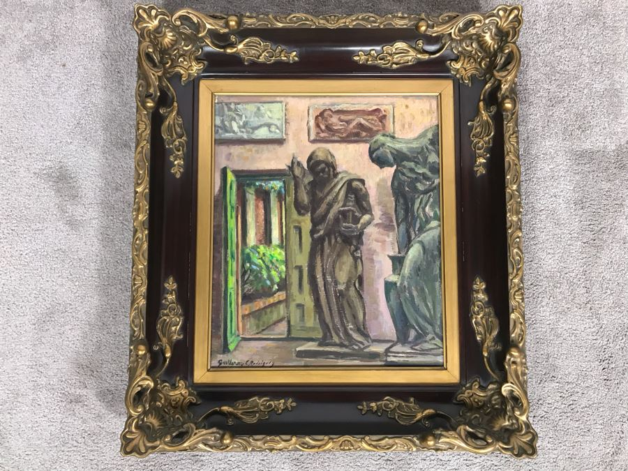 Original Guillermo Ciro Rodriguez (1889-1959) Oil Painting On Board In Stunning Frame 15 X 18 [Photo 1]
