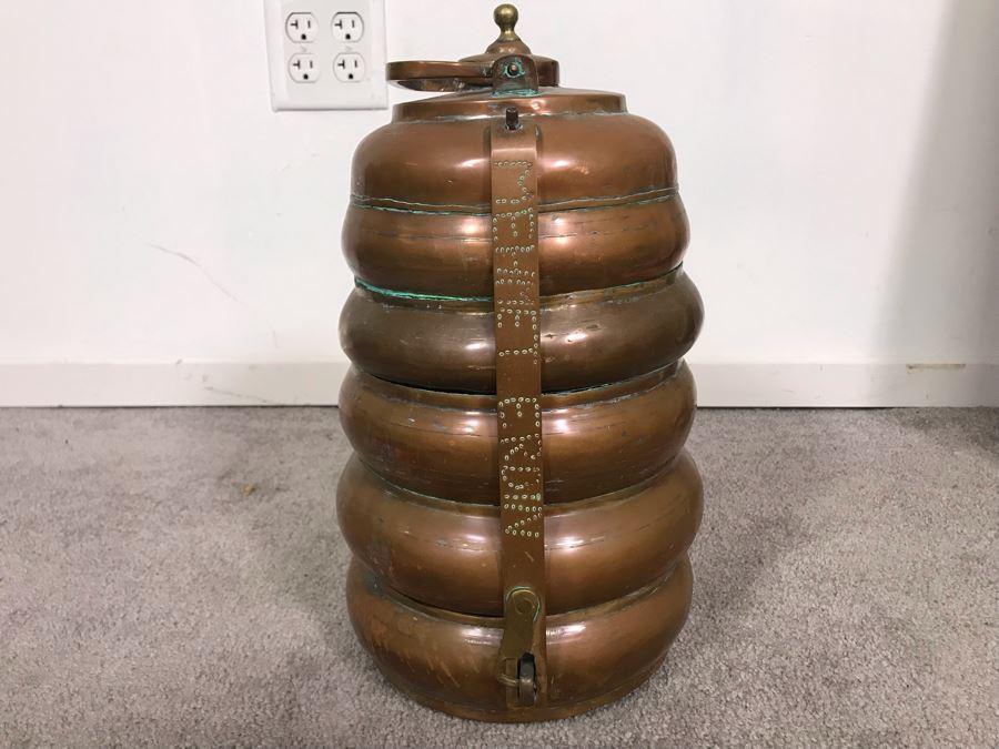 Vintage Copper Tiffin 3 Tier Turkish Lunch Box Beehive Shape Signed Mehmet Erdin Turkey 9W X 14H [Photo 1]