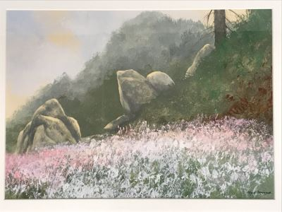 Original Miguel Dominguez Fine Art Watercolor Painting Titled 'Summer Color' Carmel, CA Landscape Painting 14 X 10