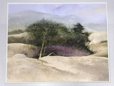 Original Miguel Dominguez Fine Art Framed Watercolor Painting Titled 'Santa Lucias In December' 1982 Carmel, CA Landscape Painting 28 X 22