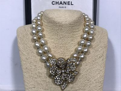 Vintage Chanel Paris Statement Signed Necklace With Original Chanel Box