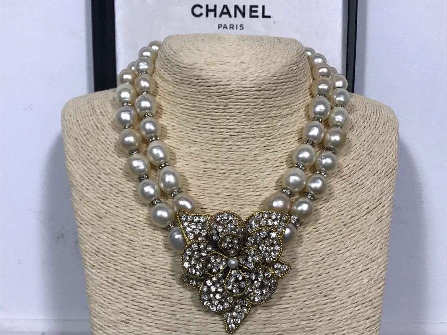 Vintage Chanel Paris Statement Signed Necklace With Original Chanel Box [Photo 1]
