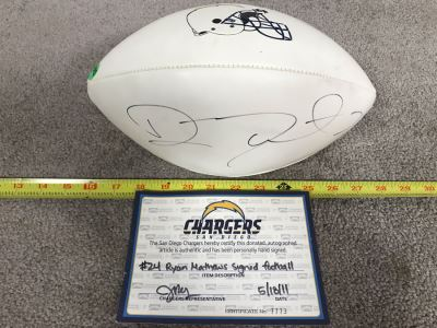 Ryan Mathews Hand Signed San Diego Chargers Football With Certificate Of Authenticity 12L