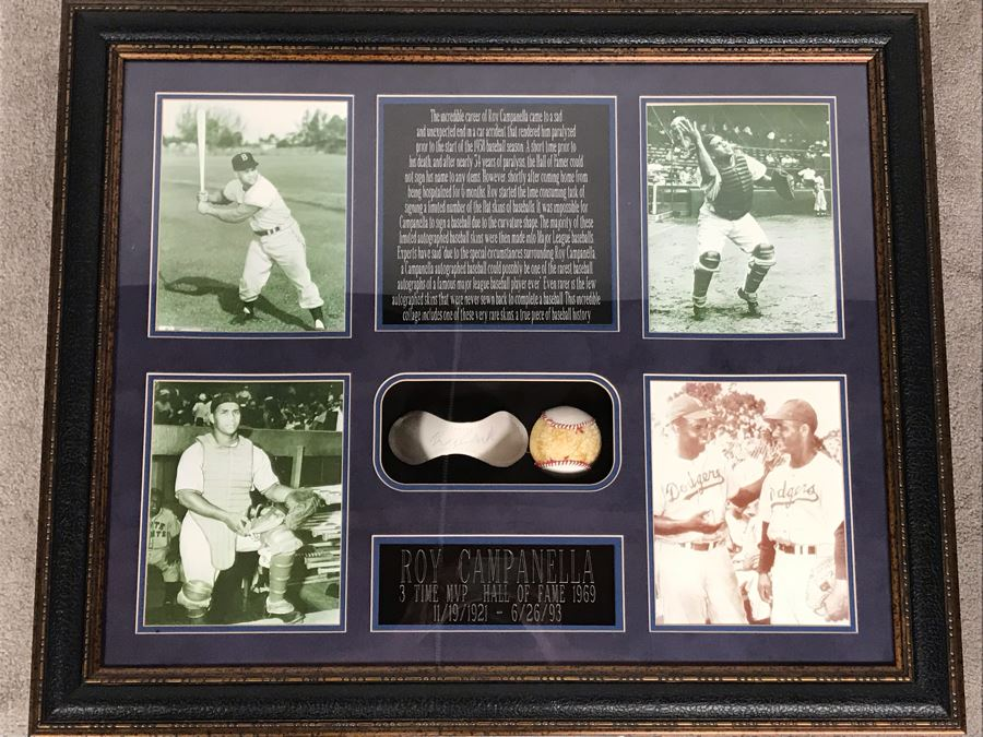 Rare Roy Campanella Hand Signed Baseball Flat Skin With Certificate Of Authenticity 35 X 29 [Photo 1]