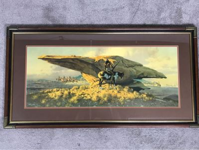 Frank C. McCarthy Signed Limited Edition Lithograph Titled 'Scouting The Long Knives' 32 X 13