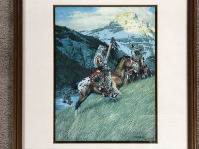 Frank C. McCarthy Signed Limited Edition Lithograph Titled 'Blackfoot Raiders' 9 X 12