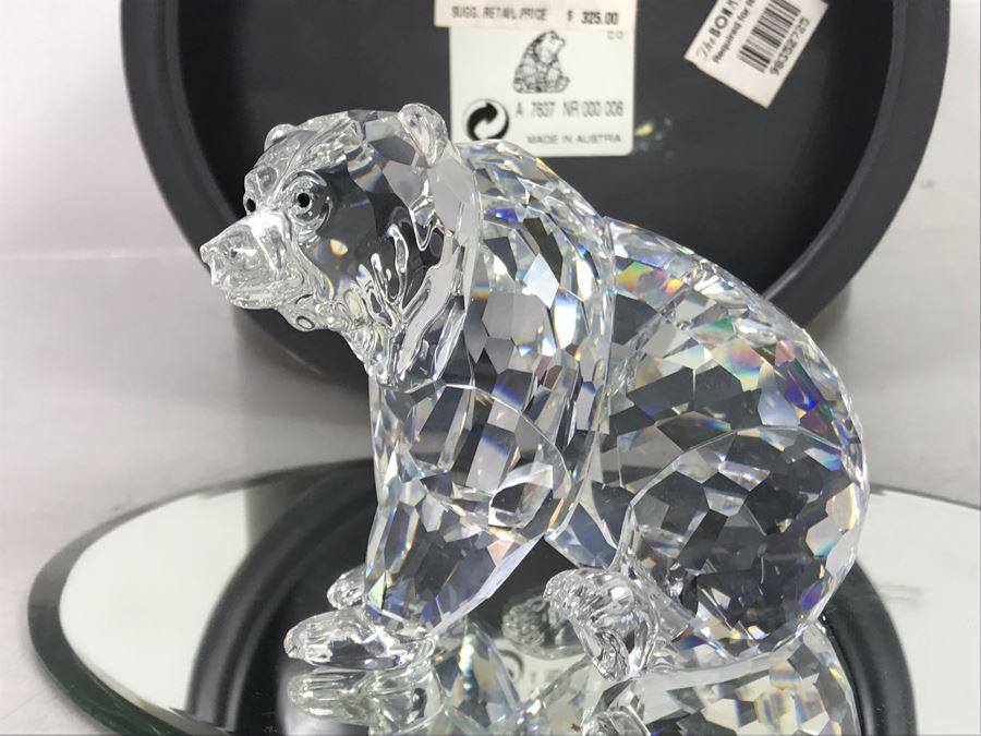 Swarovski Crystal Grizzly Bear Figurine With Original Box Retails $325 [Photo 1]