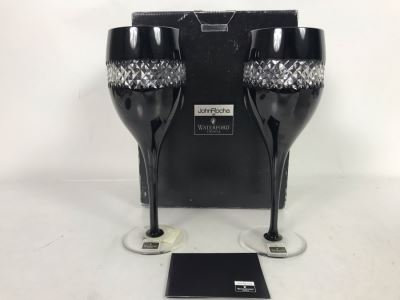 Pair Of New John Rocha Designer Waterford Crystal Red Wine High Hand Cased Lead Crystal Stemware Glasses In Black With Original Box