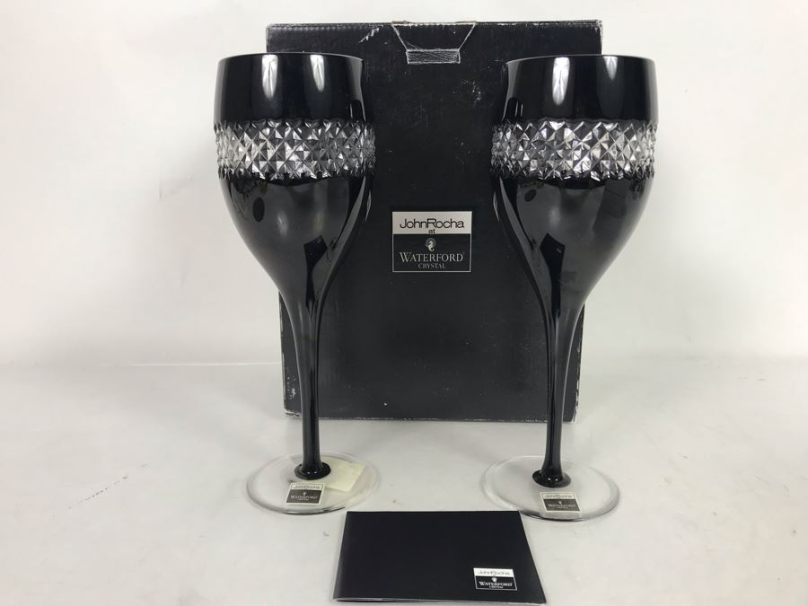 Pair Of New John Rocha Designer Waterford Crystal Red Wine High Hand Cased Lead Crystal Stemware Glasses In Black With Original Box [Photo 1]