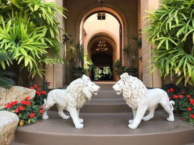 Pair Of Resin Lion Statues 36L X 27H Retails $550