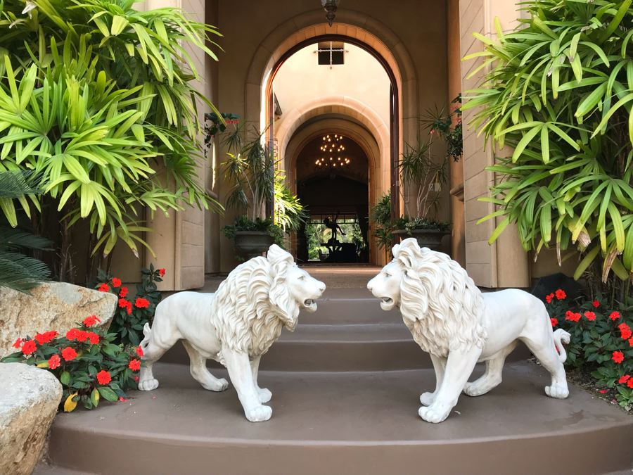 Pair Of Resin Lion Statues 36L X 27H Retails $550 [Photo 1]