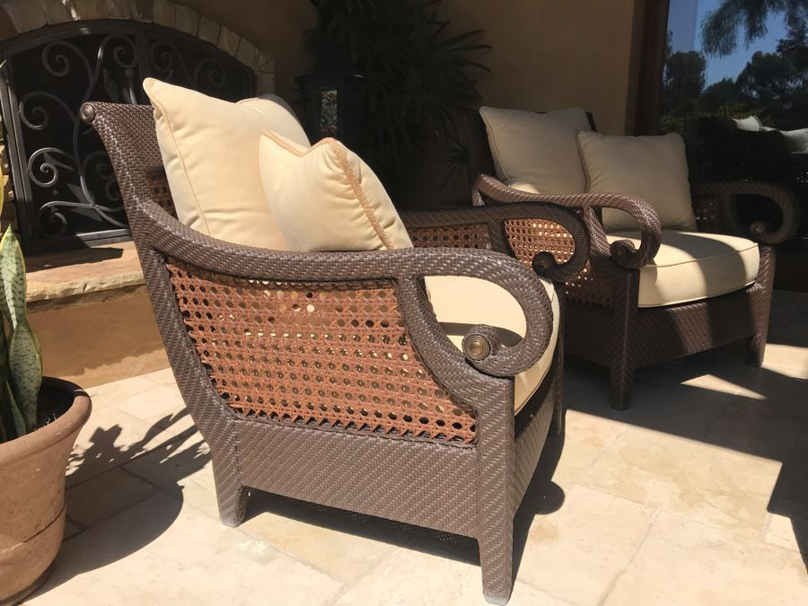 Richard Frinier For Century Furniture PAIR Of Outdoor Armchairs Lounge Chairs With Cushions (Stored Inside) Denpasar Collection (PICK UP FROM HOME) Retails $4,208 For Pair [Photo 1]