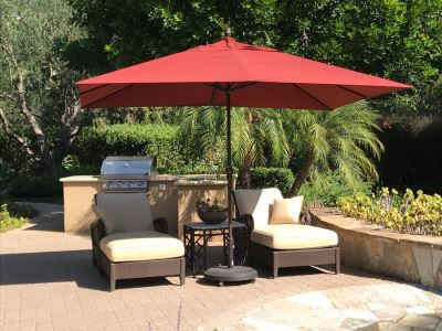 11' Sunbrella Treasure Garden Outdoor Umbrella With Rolling Base (PICK UP FROM HOME) Retails $1,235