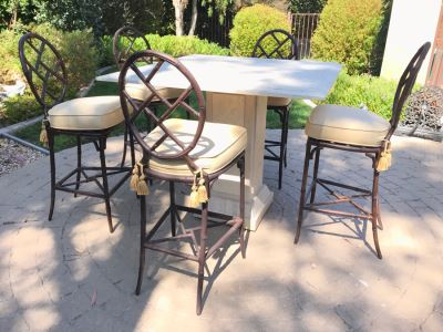 UPDATED (6 Barstools): Richard Frinier For Century Furniture SET Of 6 Barstools Orient Collection 31H Seat (Cushions Stored Inside) AND Century Furniture Marble High Top Table With Marble Base 4'W X 4'D X 41H (PICK UP FROM HOME) Total Retails $10,430