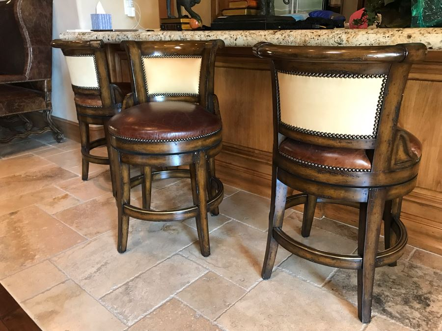 Marge Carson Designer Counter Stools Barstools With Brass Nailhead And Leather Seats (24' Seat Height - 36'H) Total Retails $8,730 [Photo 1]