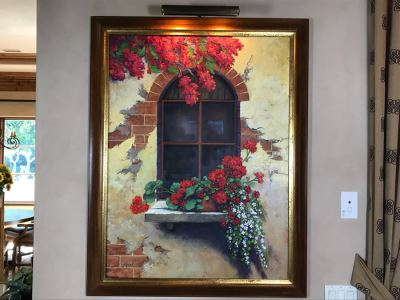 Original Carol Krick Fine Art Oil Painting On Canvas Titled 'Tuscan Window' In Wooden Frame With Overhead Lighting 36 X 48 Canvas Appraised At $12,000