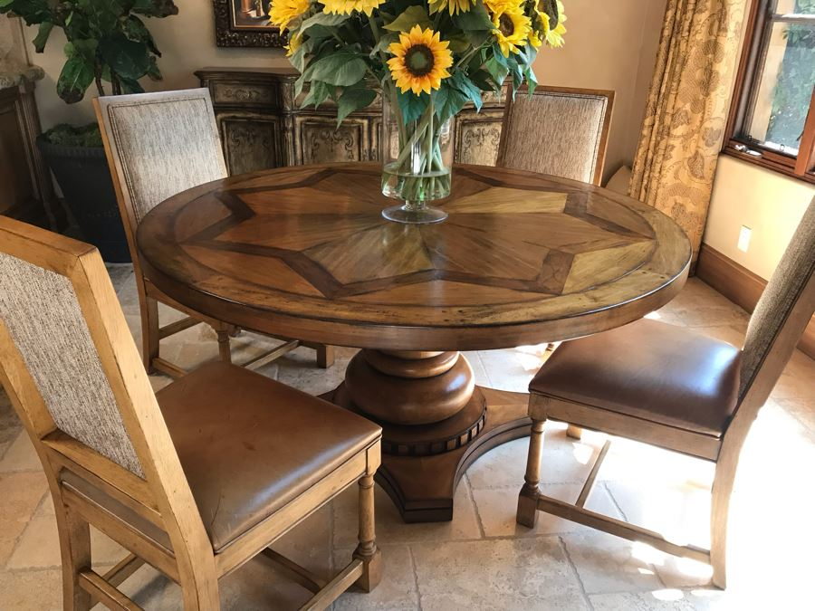 Stunning Century Furniture Inlaid Star Pattern Pedestal 5' Round Dining Table With Four Matching Century Furniture Exeter Side Chairs Dining Chairs Total Retails $11,520 [Photo 1]