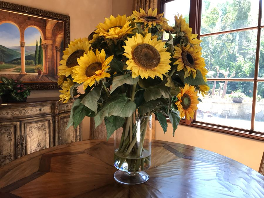 Large Artificial Sunflower Plant Arrangement In Glass Vase [Photo 1]