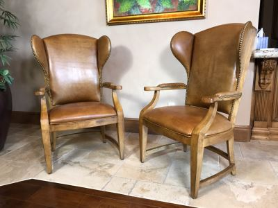 Pair Of Leather Century Furniture Caribou Club Arm Chairs With Brass Nailheads Retails $5,140
