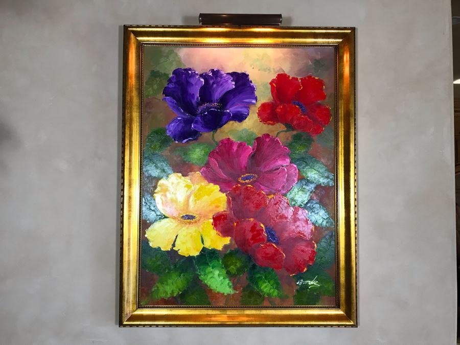 Original Mendez Fine Art Oil Painting On Canvas Titled 'Irridescence Paeonia' In Wooden Frame With Overhead Lighting 36 X 48 Appraised $6,000 [Photo 1]