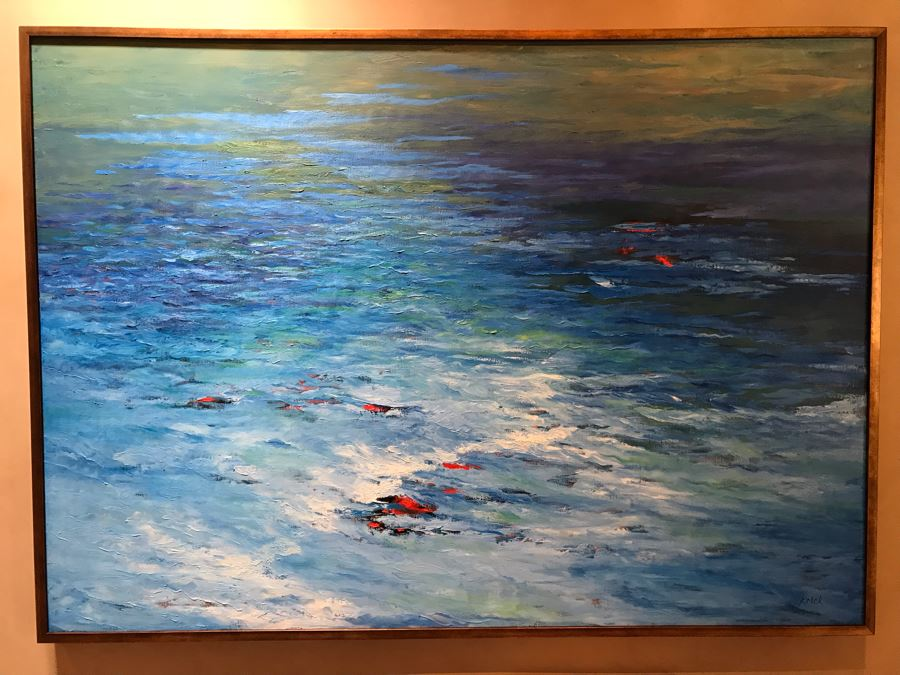 HUGE 7' X 5' Original Carol Krick Fine Art Abstract Expressionist Oil Painting On Canvas Titled 'Koi Pond' In Wooden Frame Canvas Appraised At $22,500 [Photo 1]