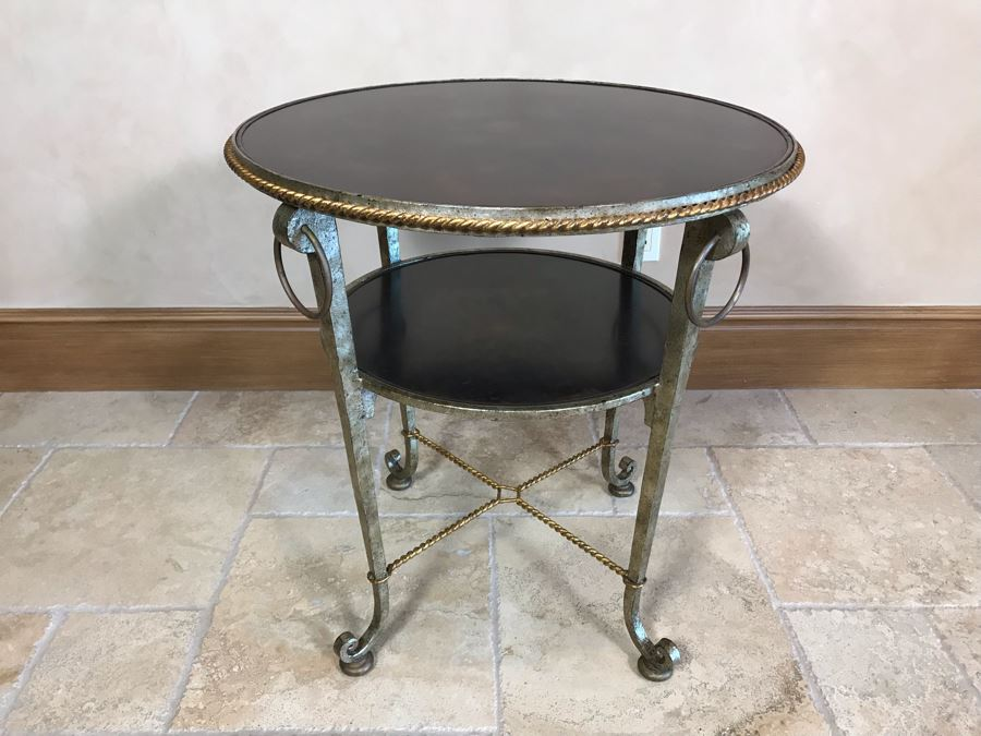 Century Furniture Round 2-Tier Silver And Gold Metal Side Table 25W X 26.5H Retails $1,420 [Photo 1]