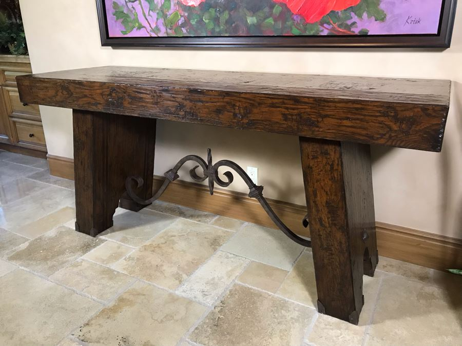 Impressive Century Furniture Marbella Collection Console Entry Table Wood With Wrought Iron 78W X 26D X 36H Retails $4,000+ [Photo 1]