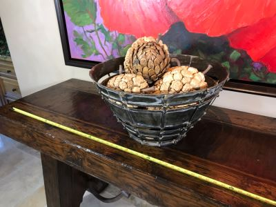 Colossal Metal Fortress Bowl With Faux Pine Cones 22W X 11.5H Retails $370