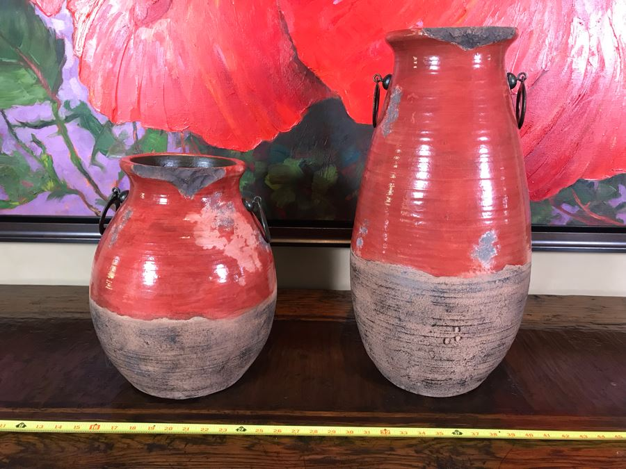 Pair Of Rustic Red Ceramic Pots By Stylecraft Lamps 15H And 22H Retails $270 [Photo 1]