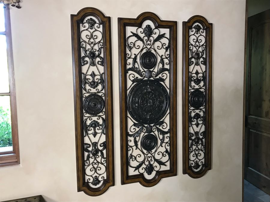 Set Of Three Wood And Metal Decorative Wall Hangings (Large Panel: 59H X 21W, Small Panels: 59H X 12.5W) Retails $1,590 [Photo 1]
