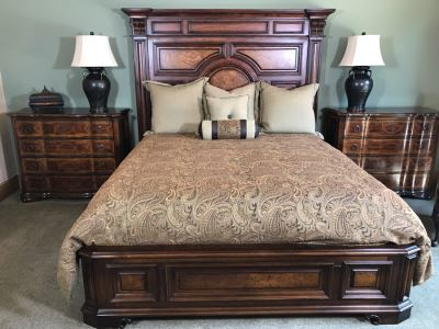 Stanley Furniture Costa Del Sol Barcelona Stateroom Mansion Bed With Lady Americana Silver Collection Nobility Cal King Mattress And High End Bedding Guest Bedroom Rarely Used 8'L X 77W X 78H (PICK UP FROM HOME) Retails Over $5,300