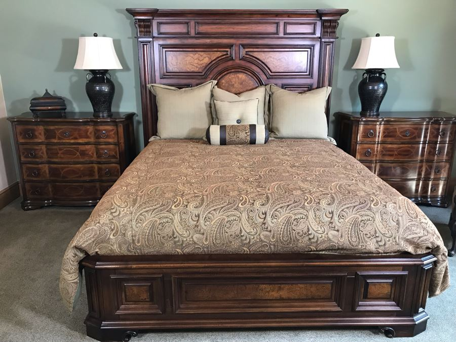 Stanley Furniture Costa Del Sol Barcelona Stateroom Mansion Bed With Lady Americana Silver Collection Nobility Cal King Mattress And High End Bedding Guest Bedroom Rarely Used 8'L X 77W X 78H (PICK UP FROM HOME) Retails Over $5,300 [Photo 1]