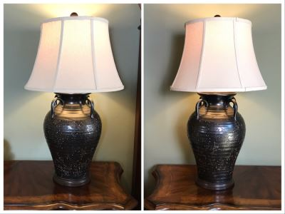 Pair Of Olivaris Pottery Lamps By The Natural Light 32H Retails $930