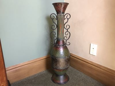 Tall Metal Decorative Vase 29H