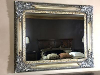 Silver Tone Beveled Glass Wall Mirror 62W X 51H Retails $2,550