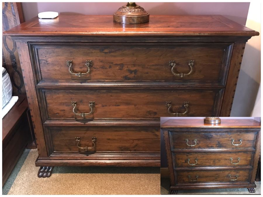 PAIR Of Century Furniture Marbella Collection Inlaid Top Dovetail Drawer 3-Drawer Chest Of Drawers Dresser Mahogany, Walnut And Maple With Solid Brass Handles 54W X 22D X 42H Retails $5,980 [Photo 1]