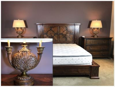 Pair Of Impressive Maitland-Smith Wooden Table Lamps 33H Retails $1,940