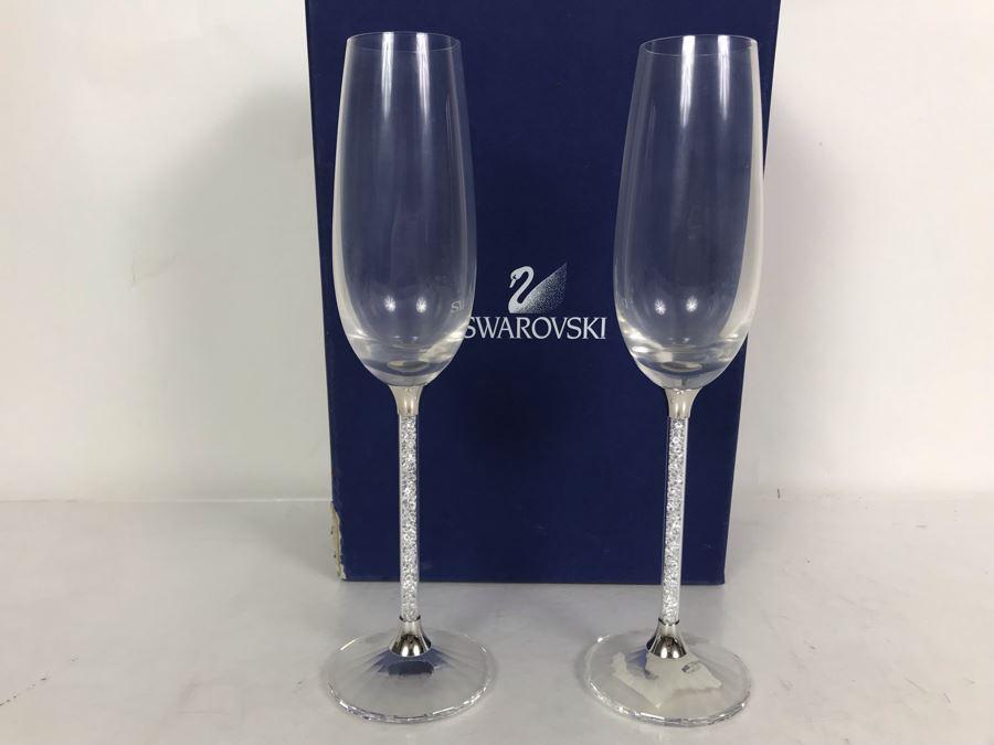 Steven Weinberg For Swarovski Crystal Crystalline Toasting Flutes Champagne Stemware Glasses With Original Box Retails $399 [Photo 1]