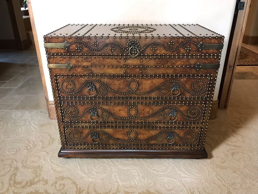 Monarch Fine Furniture For Century Impressive Courier's Chest Soft Antique Finished Hickory Burl Lidded And Drawer Chest Heavily Studded With Brass Nailheads 40W X 20D X 32H Retails $2,760 [Photo 1]
