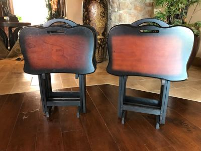 Set Of Two Folding TV Tray Sets With Racks (Total Of Eight TV Trays With Two Racks) 24W X 15D X 25H