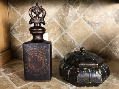 Decorative Ceramic Faux Decanter 14H And Lidded Box 9W