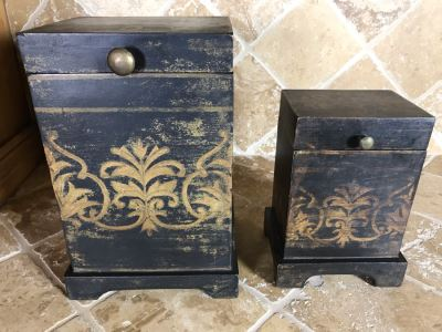 Pair Of Wooden Hinged Painted Boxes (Large Is 8W X 7D X 11.5H) Retails $110