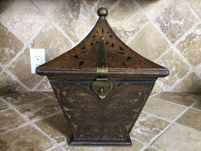 Copper And Brass Decorative Hinged Box 10W X 10D X 13H