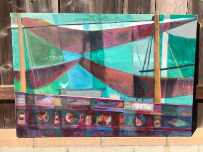 Original Jean Klafs Abstract Expressionist Painting On Canvas Titled 'Chinese Junk' 29 X 42