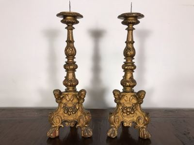 JUST ADDED - Antique Gilded Carved Wooden Candle Holders Decorated With Cherubs And Claw Feet 28H