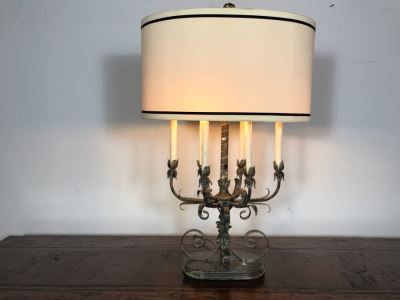 JUST ADDED - Stunning Vintage Metal 6-Light Candelabra Lamp With 2 Additional Overhead Sockets (One Overhead Socket Needs To Be Replaced) 36H