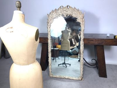 JUST ADDED - Vintage Designer Syroco Style Leaves Mirror 32W X 63H