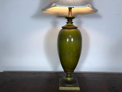 JUST ADDED - Vintage Tall Glazed Ceramic Table Lamp 46H